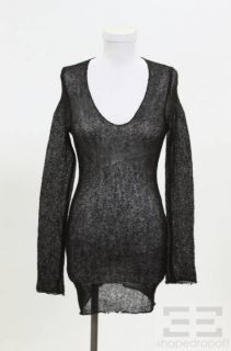 Isabel Marant Black Wool Sheer Knit V Neck Sweater Size 1