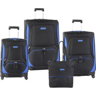 Downhaul Spinner Black Blue 4 Piece Luggage Set $1030 Value New