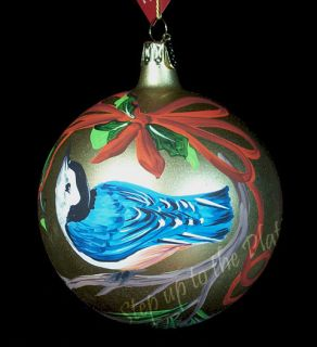 Greetings Nuthatch Christmas Tree Ornament Hand Painted Italy
