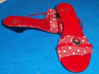 Italian Shoemakers Red Polka Dot Kitten Heel Slip on Sandal 7 1 2 B