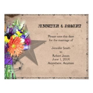 Country Western Barbed Wire Save the Date Personalized Announcement