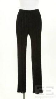 Issey Miyake Fete Black Velvet Plisse Pants Size 4