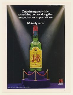 1979 J B Scotch Whisky Bottle Exceeds Expectations Truly RARE Print Ad