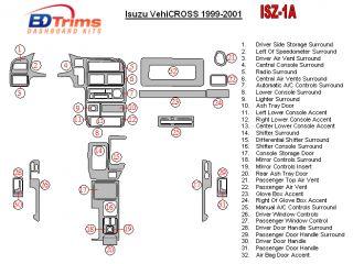 ISUZU VEHICROSS 99 2000 01 DASH TRIM KIT DASHBOARD STYLE WOOD / CARBON