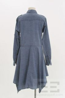 Isabelle Marant Etoile Blue Chambray Pleat LS Shirt Dress Size 1
