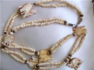 Lovely Vintage Faux Ivory Elephant Bead Necklace