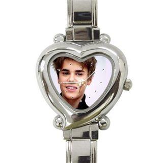 HW125 Pop Artist Justin Bieber Fans Heart Italian Charm Ladies Watch