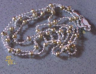 Italian Jewelry Sterling Silver Gold Bead Chain Necklace