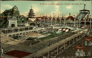 Coney Island NY Dreamland Amusement Park c1910 Postcard