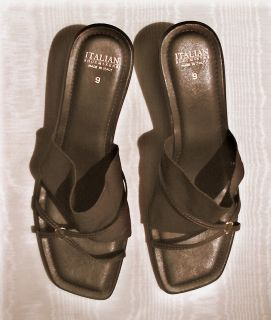 Italian Shoemakers Classy Slides Sandals Womens 9 2 Heel Dark Walnut