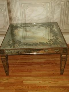 Italian Mirrored Table Early 1900s Reverse Glass Paint