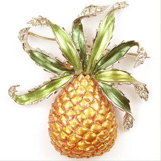 MB Boucher Green Gold Metallic Enamel Pineapple Pin