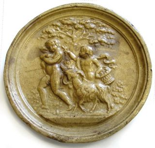 Antique Sculpture Plaque Medallion c1850 Waxed Carved Plaster Cherubs