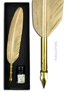 Small Metallic Gold Italian Feather Quill Pen and Ink Set