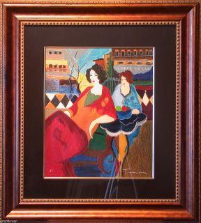 Itzhak Tarkay Cafe de Luc Serigraph Artist Proof Framed