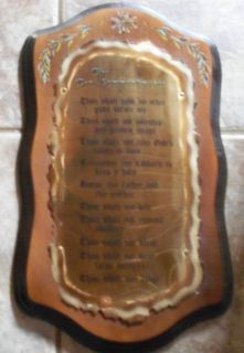 Home Interiors Ten Commandments Plaque Wood Metal
