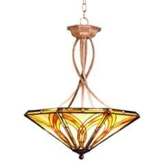 tiffany amber glass inverted pendant chandelier