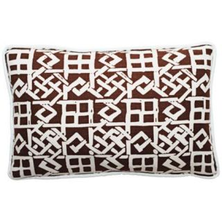 Modern Lattice Brown and White 17 Wide Lumbar Pillow   #T6207