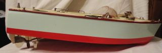 Vintage Japan 1950s Ito TMY Wooden Speed Boat Battery Operated w