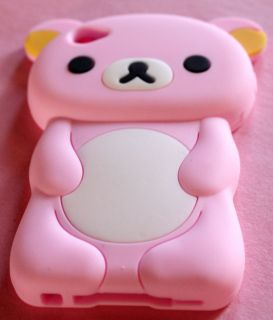 iPOD TOUCH 4G LIGHT PINK CUTE TEDDY BEAR 3D SILICONE RUBBER SOFT CASE