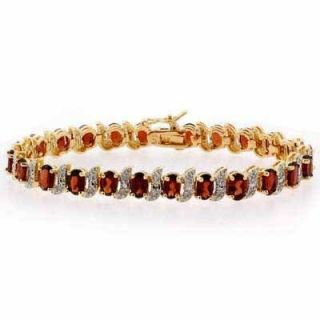 15 Carat Red Ruby and Genuine Diamond 18K Gold Bracelet