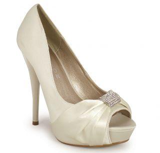 New Ladies Womens Ivory Bridal Peeptoe Platform Party Prom Satin Shoes