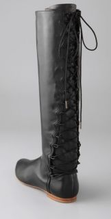Sigerson Morrison Lace Back Flat Boots with Inside Zip
