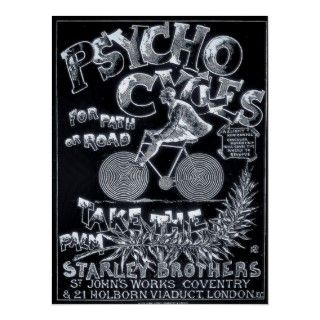 Psycho Cycles For Path or Road   Vintage Bike Ad Poster