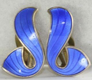 Vintage Norway Ivar Holt Sterling Silver Blue Enamel Clip Earrings