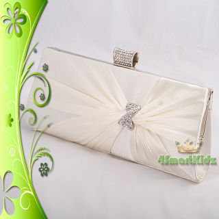 Ivory Satin Evening Flap Clutch Handbag Bag Purse Wedding Bridal Party