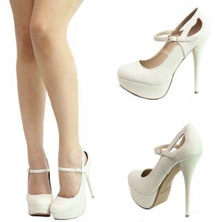 Ivory Round Toe Mary Jane 5 High Heel Platform Stiletto Womens Pump