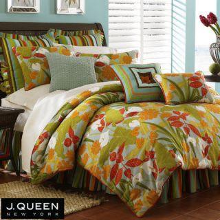 Queen New York PALM BEACH Tropical Queen Comforter Set Euro Shams 6