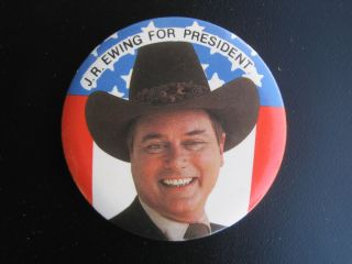 Ewing for President Dallas Larry Hagman 80s Campaign Button Pin
