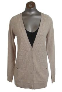 Cashmere Waffle Cardigan Sweater Heather Flax Small J.Crew Collection
