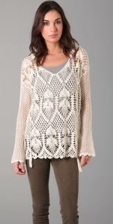 Free People Pacifica Crochet Hooded Sweater