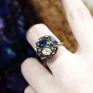 Retro Luxury Adjustable Multicolor Rhinestone Dome Ring