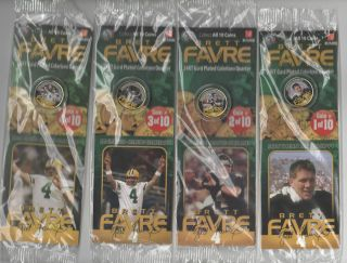 BRETT FAVRE Set of 10 Merrick MINT 24K GOLD Plated Quarters COINS