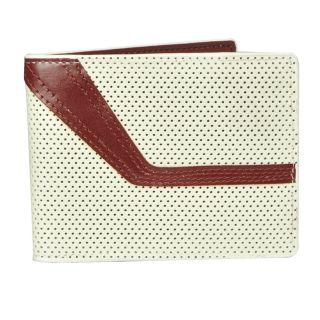 Fold Sports White w Red Stripe Jetstream Top Grain Leather Bifold
