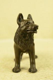 Attentive German Sheppard Bronze Statue Figurine Art Figure Animal