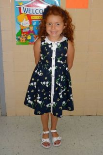 Janie and Jack Spring Lily Navy Floral Dress 6 Girls