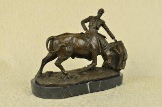 Cadeau Statue Matador Corrida de Fisher Bronze Socle Marbre Signee