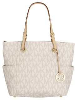 Michael Kors Jet Set East West PVC Tote Bag Purse Vanilla New