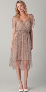 Lela Rose Draped Mesh Midi Dress
