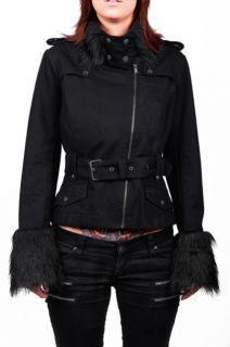 Tripp Gothic Coat Fur Protector Steampunk Lacuna Coil Punk Emo Jacket