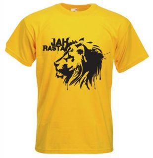 Jah Rasta T Shirt Reggae Lion of Judah Rastafarian Bob Marley Colour
