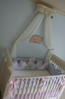 Rachel Ashwell Shabby Chic Bella Rose Blue Pink Floral Custom Crib