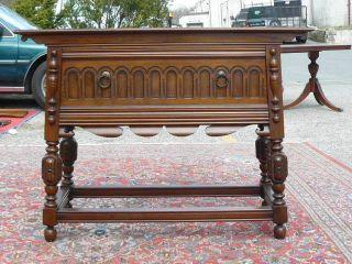 Antique Rockford Furniture Carved Walnut Jacobean Tudor Server Buffet