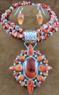 Silver Spiny Oyster Necklace & Earring Set by Navajo Artist T James