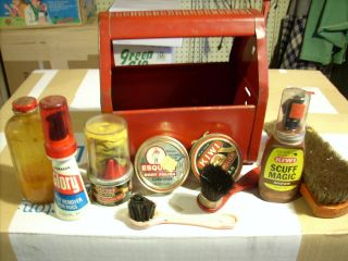 Small Vintage Metal Shoe Shine Kit