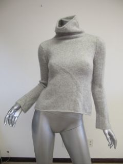 James Perse Light Gray Cashmere Ribbed Sleeve Turtleneck 3